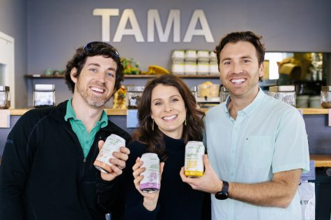 From left to right: Wells Struble, Kelly Struble, and Rocco Quaranto III -- the three founders of Tama Cafe. Each holds one of the three different flavors of sparkling green tea, partial proceeds of which are being donated to help preserve Masonboro Island.