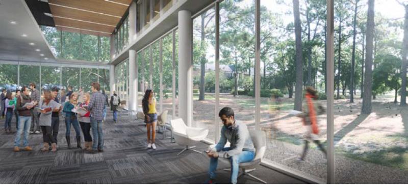 A visual design of Randall Library following renovations.