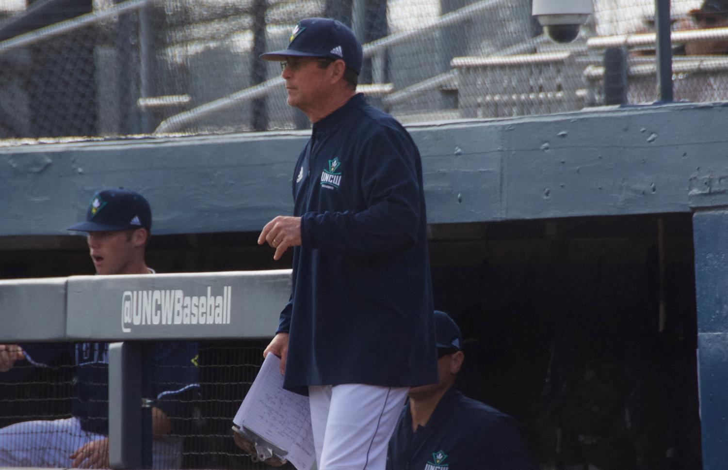 UNCW coach Mark Scalf during the Seahawks' matchup against Valparaiso at Brooks Field on March 3, 2019.