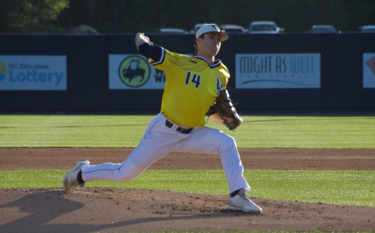 Landen Roupp (14) during UNCW's matchup against Coastal Carolina at Brooks Field on March 26, 2019.