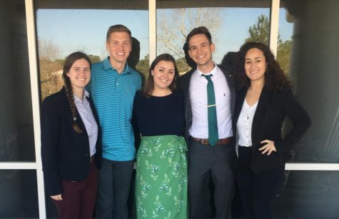 From left to right: College of Health & Human Services Senator Laura Bussiere, Senior Class President Julian Coley, SGA Vice President-elect Rachel Kowaldo, SGA President-elect Nick Pianovich, and Junior Class Senator Sofia Bonilla.