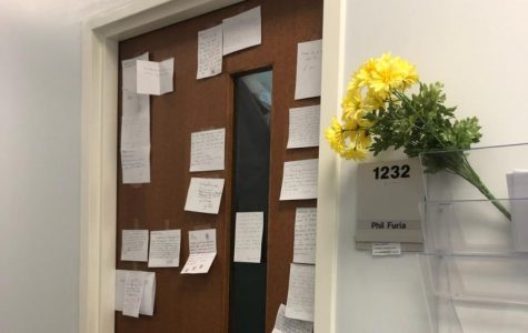 Notes of mourning and appreciation were posted this past week on office door of  the late Phil Furia.