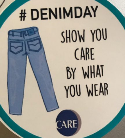 """cda213ee CARE's Denim Day stickers feature a pair of blue jeans and say, """"Show you  care by what you wear."""""""