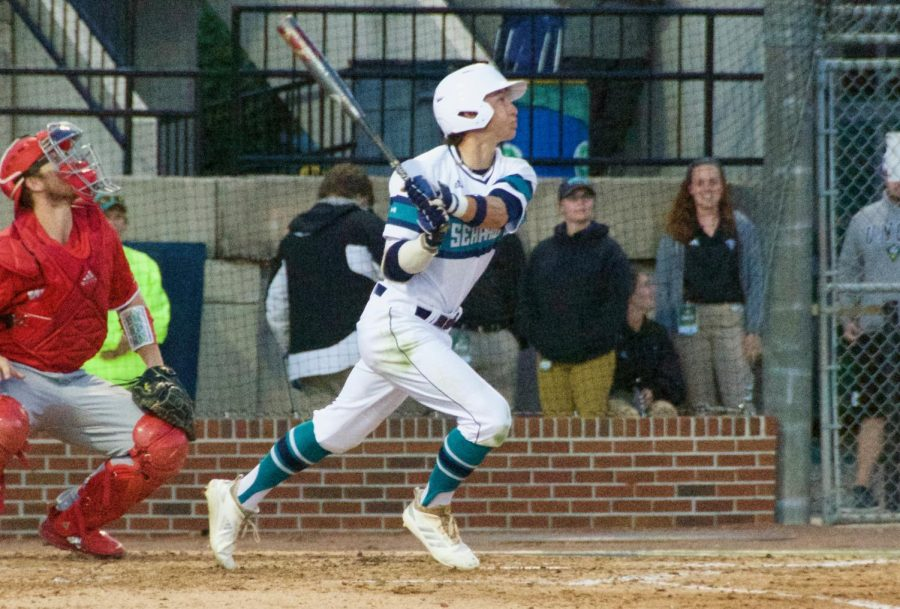 Noah Bridges (22) during UNCW's contest against N.C. State at Brooks Field on April 16, 2019.