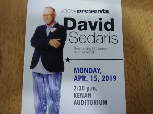 A pamphlet from humorist David Sedaris' event at Kenan Auditorium on April 15, 2019