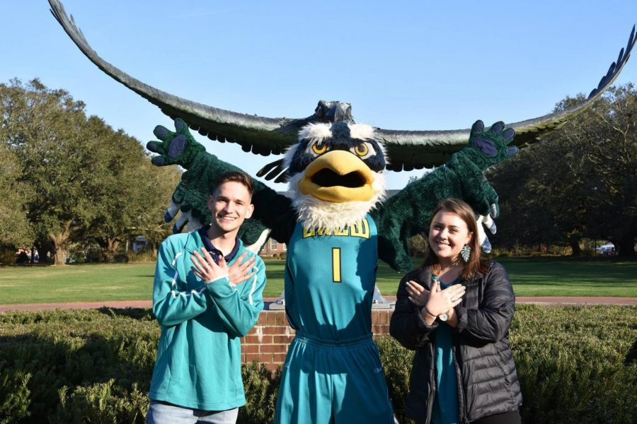 From left to right: SGA President-elect Nick Pianovich; Sammy C. Hawk; SGA Vice President-elect Rachel Kowaldo.