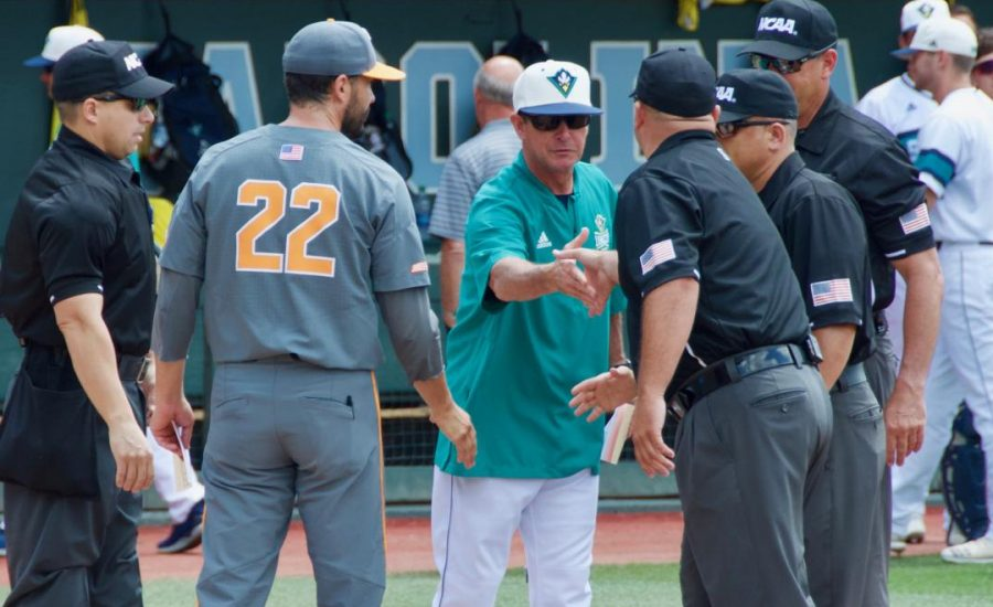 UNCW+head+coach+Mark+Scalf+prior+to+the+Seahawks%27+Saturday+matchup+with+Tennessee+in+the+2019+NCAA+Chapel+Hill+Regional+