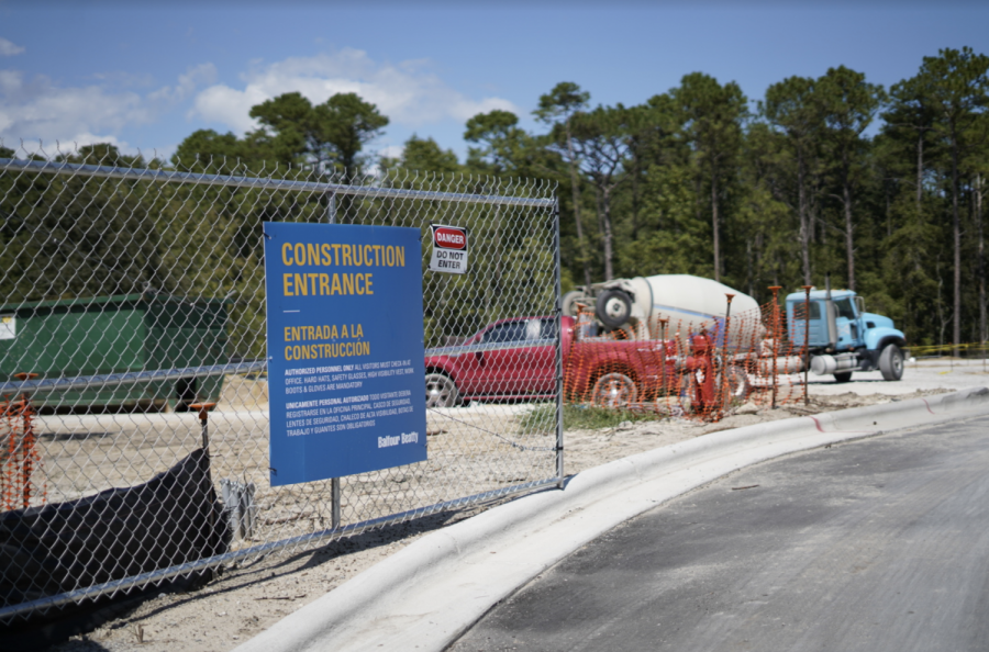 Construction on UNCW's campus as of August 28, 2019.