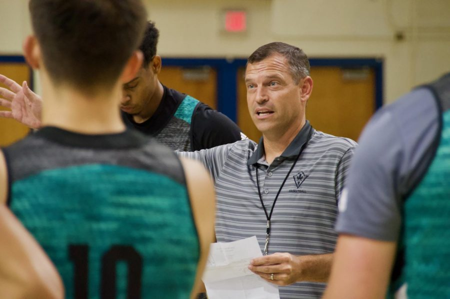 UNCW+head+coach+C.B.+McGrath+during+the+Seahawks%27+first+official+practice+of+the+2019-20+season+on+Sep.+26%2C+2019.+