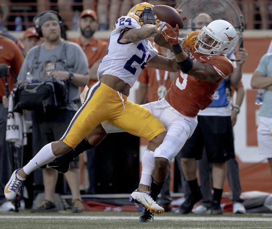 Texas wide receiver Collin Johnson (9) can't complete a catch as LSU cornerback Derek Stingley Jr. (24) defends during an NCAA football game on Saturday, Sept. 7, 2019, in Austin, Texas.