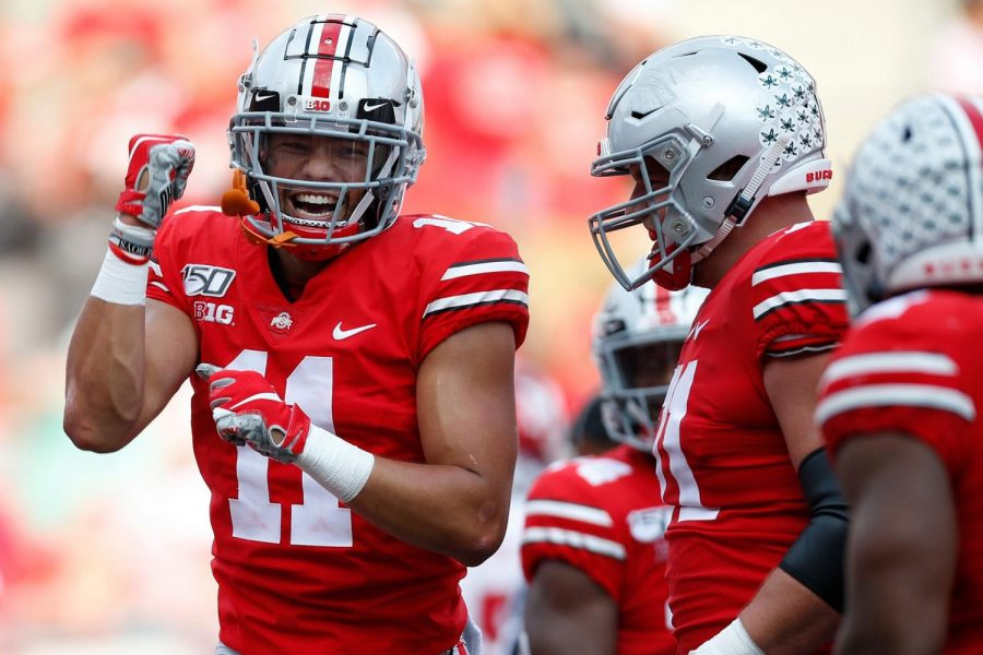 Ohio State wide receiver Austin Mack (11) celebrates after a play against Miami (Ohio) during a 76-5 romp for the Buckeyes at Ohio Stadium in Columbus, Ohio, on September 21, 2019. Nebraska will provide a much stiffer test in Week 5, but fifth-ranked Ohio State is still a 17 1/2-point favorite on the road.