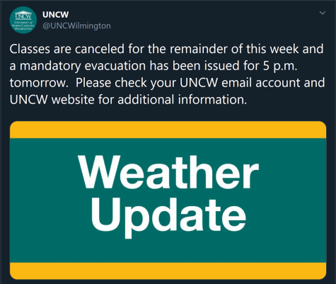 Tweet about Hurricane Dorian evacuation from the UNCW main twitter account, originally posted Sept. 2, 12:27 p.m. Screenshot by Spencer Boring.