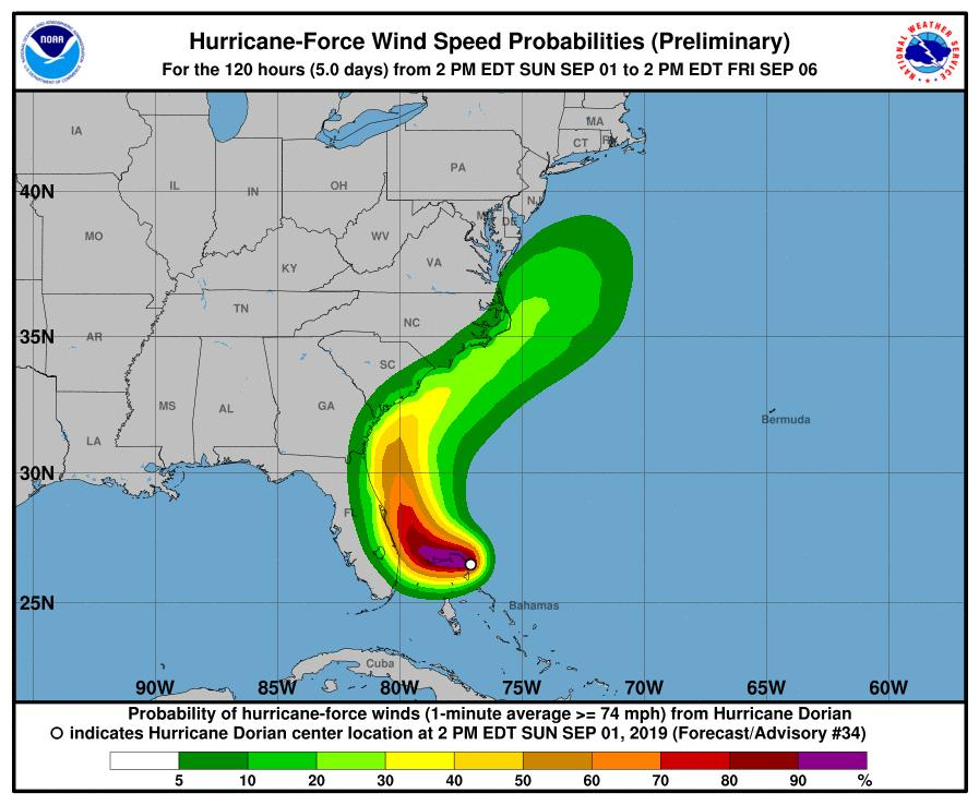 This+map+shows+the+probabilities+of+hurricane+force+winds+from+Dorian.+%28Photo+Credit%3A+NHC%29