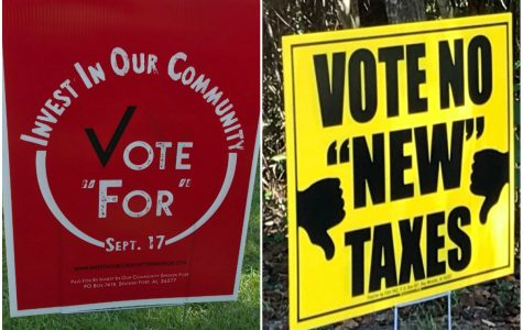 Yard signage on display in the Wakefield subdivision in Spanish Fort, Ala., on Friday, Sept. 13, 2019. On the left is a sign in support of a 3-mill property tax increase for schools and on the left is a sign in opposition. Voters in Spanish Fort and Fairhope will head to the polls on Tuesday, Sept. 17, 2019, to vote on whether their taxes should be raised to support academics within the schools in their cities.