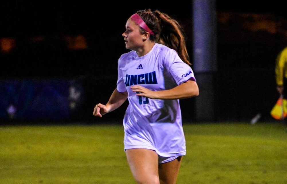 Emily Moxley (13) during UNCW's matchup with James Madison at UNCW Soccer Stadium on Oct. 24, 2019.