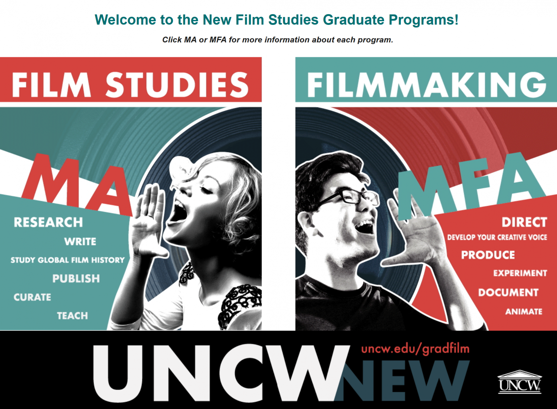 Screenshot of the Film Studies graduate website by Spencer Boring.