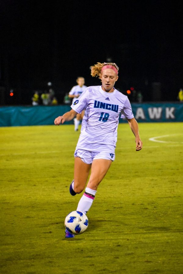 Audrey Harding (18) during UNCW's matchup with James Madison at UNCW Soccer Stadium on Oct. 24, 2019.