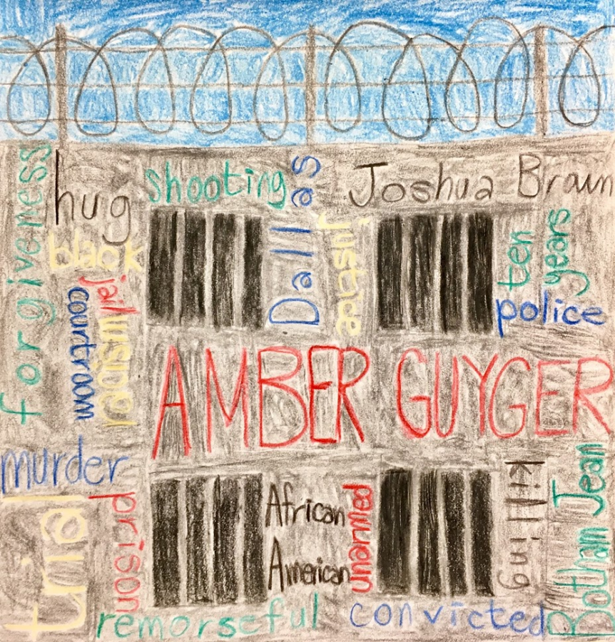 A prison-themed word cloud summarizes the Amber Guyger case, from the shooting to the sentencing.