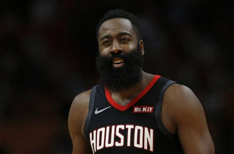 The Houston Rockets' James Harden during the second quarter of a preseason game against the Miami Heat at the AmericanAirlines Arena in Miami on October 18, 2019.