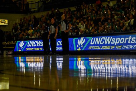 Just before tipoff between UNCW and Johnson & Wales on November 5, 2019.