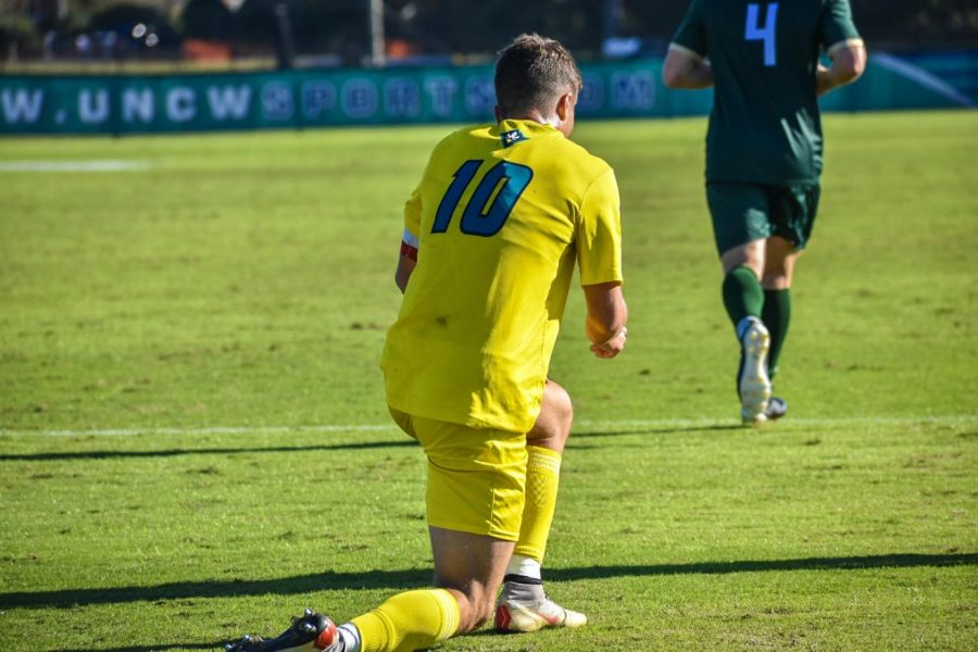 Phillip Goodrum (10) during UNCW's matchup with William & Mary in the semifinals of the 2019 CAA Tournament