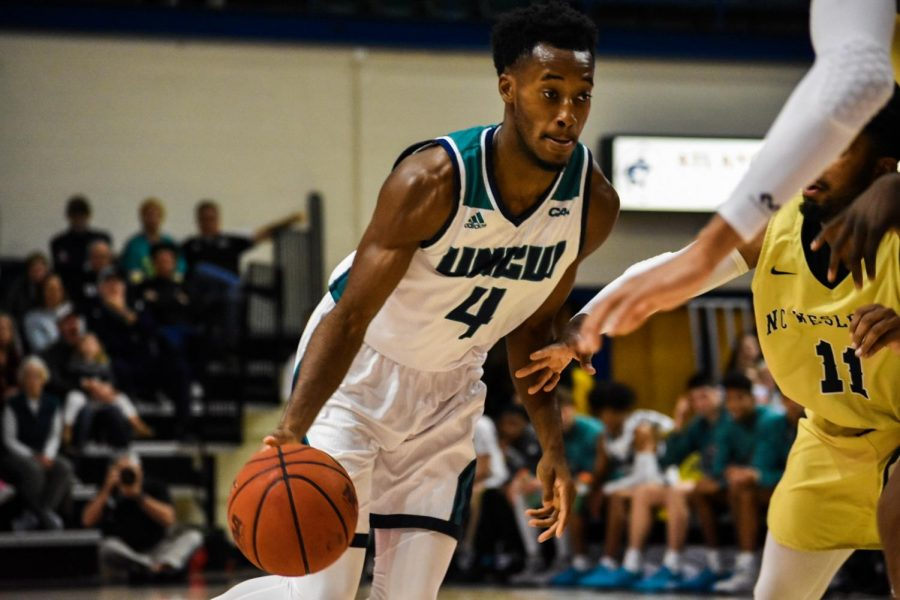 Mike Okauru during UNCW's matchup with N.C. Wesleyan on Nov. 19, 2019.