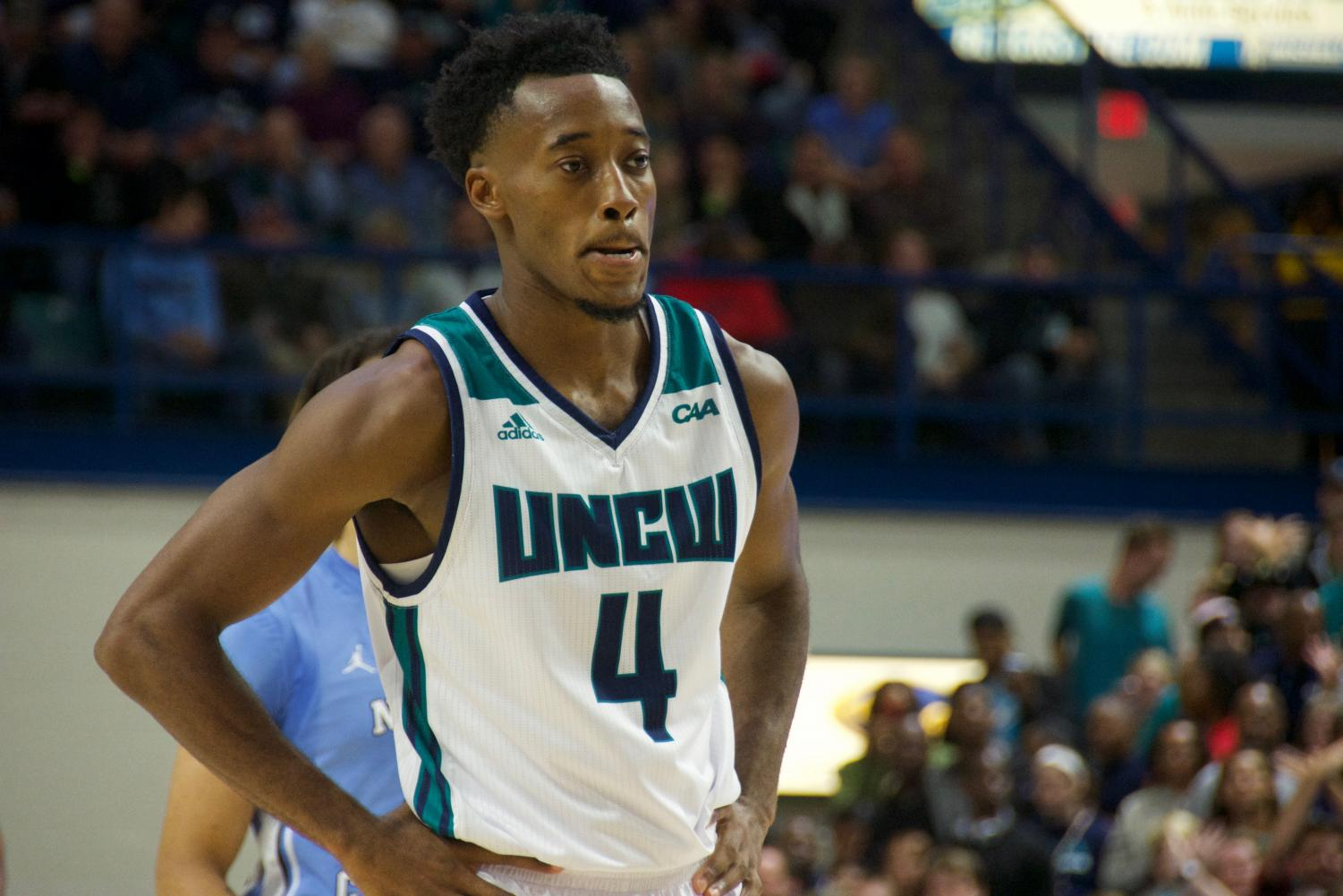 Mike Okauru (4) during UNCW's matchup with North Carolina on Nov. 8, 2019 at Trask Coliseum.
