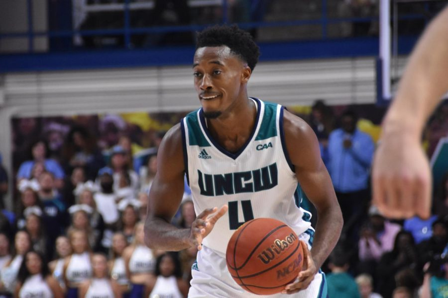 Mike Okauru during UNCW's matchup with North Carolina on Nov. 8, 2019 at Trask Coliseum.