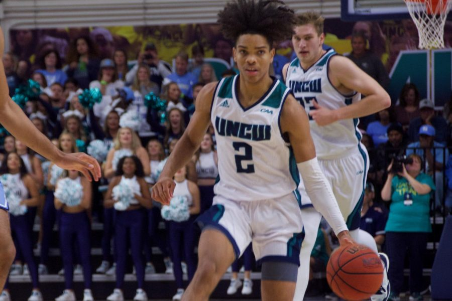 Shykeim Phillips (2) during UNCW's matchup with North Carolina on Nov. 8, 2019 at Trask Coliseum.
