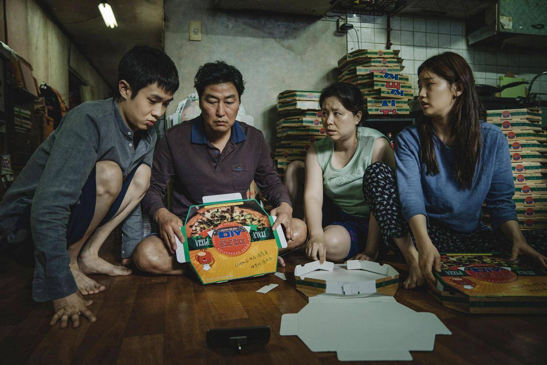 The Kim family (From left: Choi Woo-shik Choi, Song Kang-ho, Jang Hye-jin and Park So-dam) in