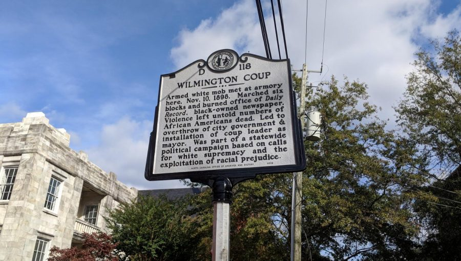 Th highway historical marker commemorating the 1898 coup, located on Market Street between Fourth and Fifth Street.