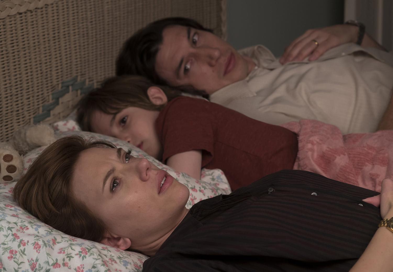 Scarlett Johansson, left, Azhy Robertson and Adam Driver in the movie