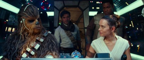 From left, Joonas Suotamo as Chewbacca, Oscar Isaac as Poe Dameron, Daisy Ridley as Rey and John Boyega as Finn in