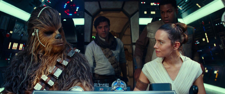 From left, Joonas Suotamo as Chewbacca, Oscar Isaac as Poe Dameron, Daisy Ridley as Rey and John Boyega as Finn in