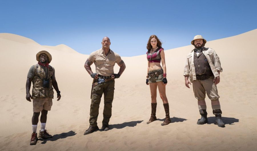 "From left, Kevin Hart, Dwayne Johnson, Karen Gillan and Jack Black in a scene from ""Jumanji: The Next Level"" [Hiram Garcia/Sony]  USA"