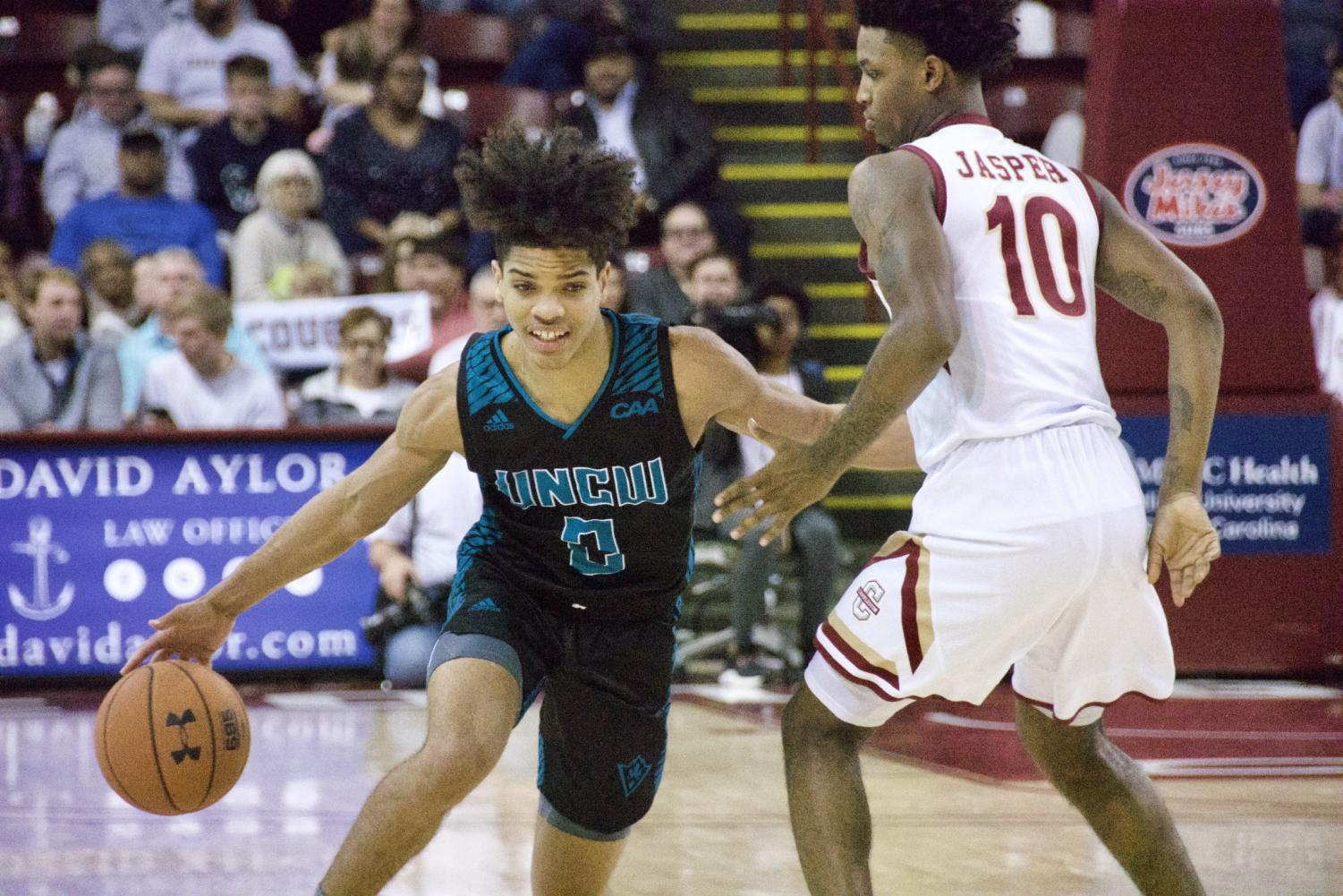 Shykeim Phillips during UNCW's matchup with College of Charleston on Jan. 25, 2020 at TD Arena