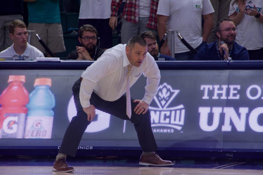 UNCW+interim+head+coach+Rob+Burke+during+the+Seahawks%27+matchup+against+Hofstra+on+Jan.+16%2C+2020.+