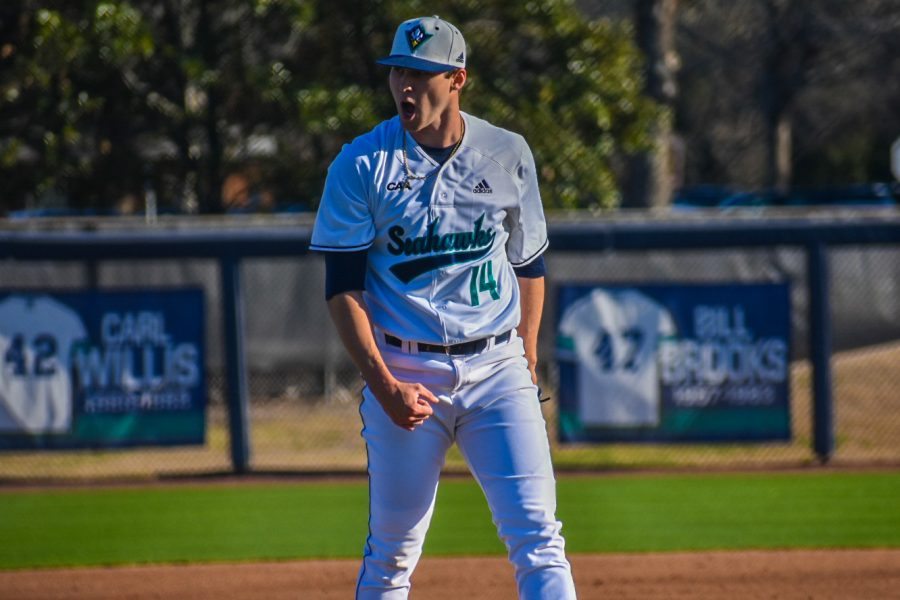 Landen Roupp (14) during UNCW's matchup with Marshall on Feb. 22, 2020 at Brooks Field.