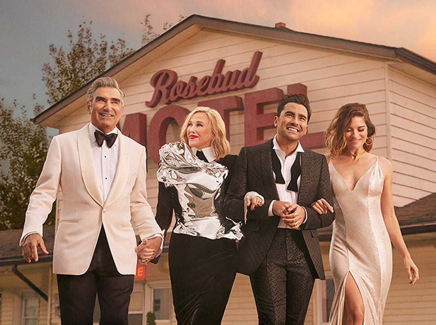 From left to right: Eugene Levy, Catherine O'Hara, Dan Levy and Annie Murphy star in the final season of