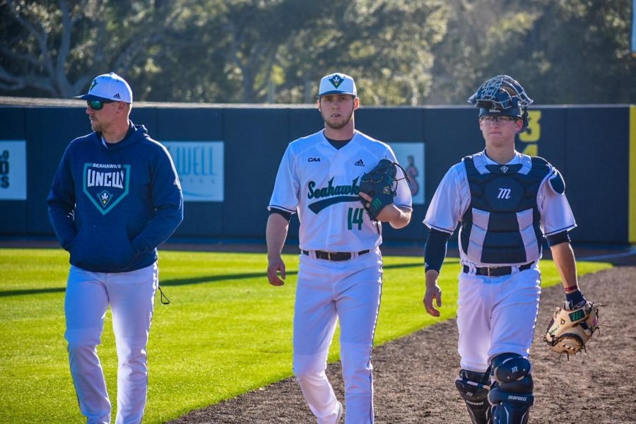 Landen Roupp (14) before UNCW's matchup with Bryant on Feb. 15, 2020