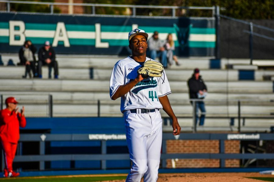 Pitcher+Zarion+Sharpe+%2844%29+during+UNCW%27s+Opening+Day+matchup+with+Dayton+on+Feb.+14%2C+2020+at+Brooks+Field