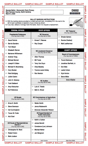 The sample ballot for the New Hanover county 2020 primary elections.