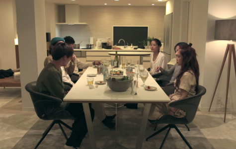 The cast of 'Terrace House: Tokyo 2019-2020' at dinner.