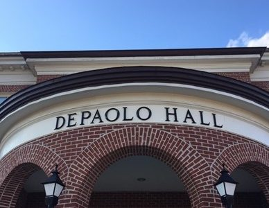 Outside of DePaolo Hall, which houses the University Learning Center among other services.
