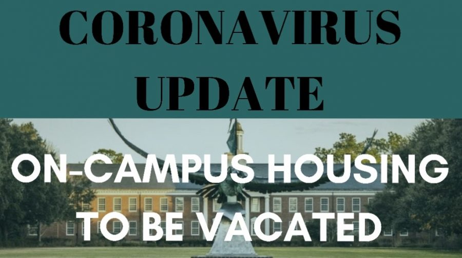 Coronvirus Update: On-campus housing to be vacated. Photo by Travis Stoker, graphic by Lauren Wessell.