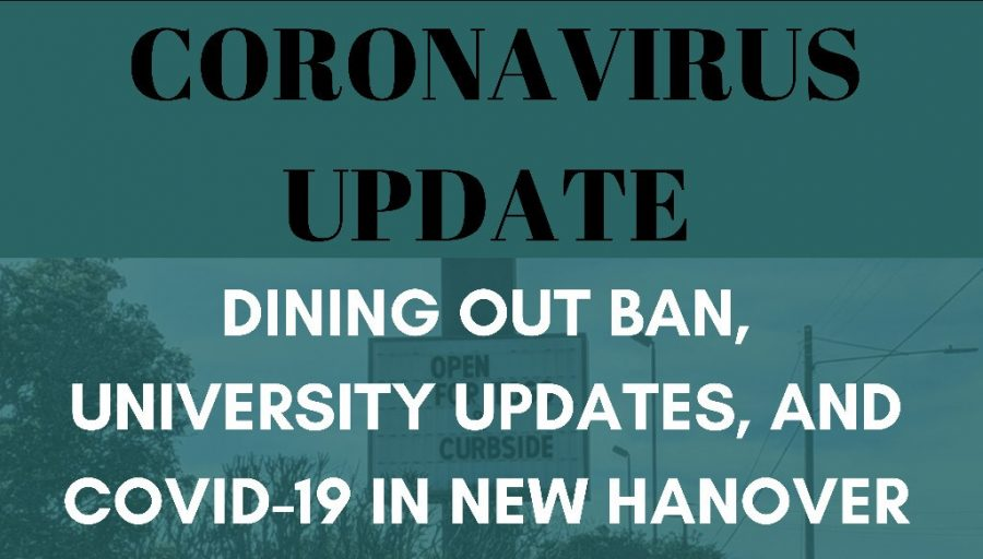 Coronavirus Update: Dining out ban, university updates, and COVID-19 in new Hanover County. Photo my Caitlyn Dark, graphic by Lauren Wessell.