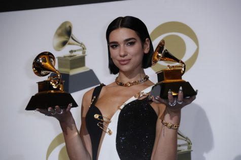 Dua Lipa backstage during the 61st Grammy Awards at Staples Center in Los Angeles on Sunday, Feb. 10, 2019. (Marcus Yam/Los Angeles Times/TNS)