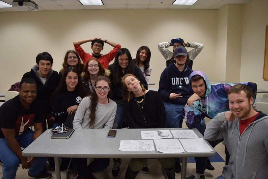 A group made up of UNCW's American students, international students, and even graduates from other schools attending a Japan Club meeting in February 2019.