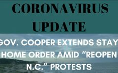 Coronavirus Update: Gov. Cooper extends stay-home order amid 'Reopen N.C.' protests. Graphic by Lauren Wessell, picture by Caitlyn Dark.