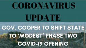 Coronavirus update graphic: Gov. Cooper to shift state to 'modest' phase two COVID-19 opening. Graphic by Lauren Wessell, photo by Caitlyn Dark.